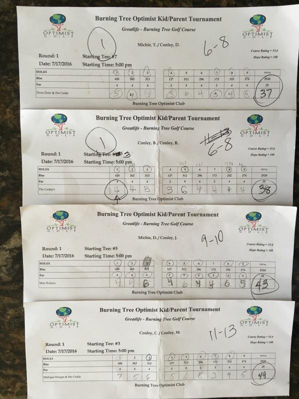 7.17.16 BT ParentKid golf tourney scorecards