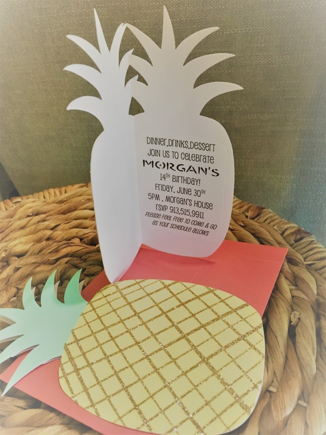 6.30.17 14th Bday Pineapple Party Invites (2)
