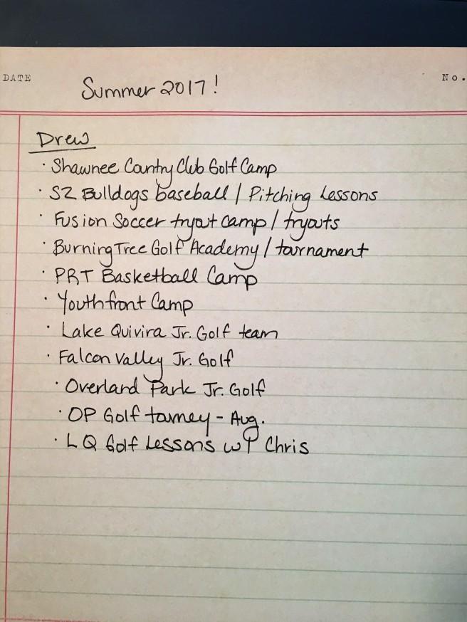 8.18.17 Drew Summer Activities