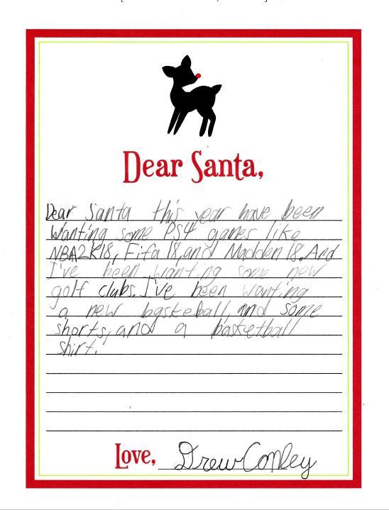 Drew Santa Letter 2017