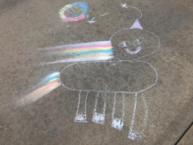 3.22.18 Reece Unicorn Driveway Chalk Art_7yrs